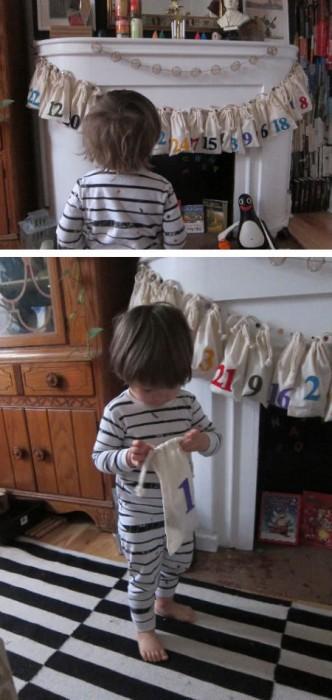 diy bags advent for children 332x700 9 Fun DIY Kids Advent Calendars