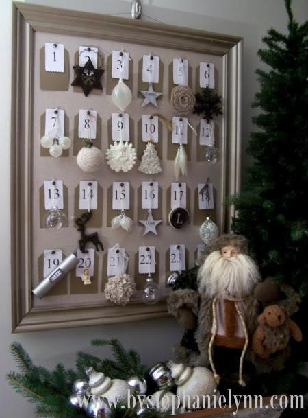 diy framed christmas ornament advent calendar 9 Fun DIY Kids Advent Calendars
