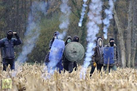 Protesters face on November 24, 2012 French riot police, seeking to evict squatters from protected swampland where Prime Minister Jean-Marc Ayrault wants to build a new airport(AFP Photo / Jean-Sebastuen Evrard)