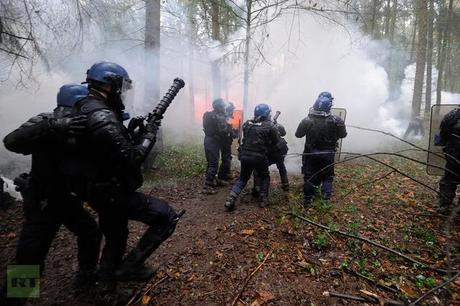 French riot police face protesters on November 24, 2012 as they seek to evict squatters from protected swampland where Prime Minister Jean-Marc Ayrault wants to build a new airport (AFP Photo / Jean-Sebastuen Evrard)
