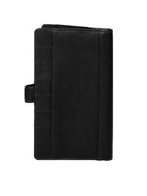 Elan Unisex Black Leather Travel Wallet