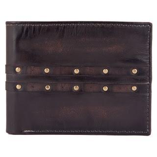 Riveted/Studded Brown Leather Wallet for Men