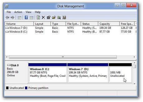 how to create new disk partition in windows 8