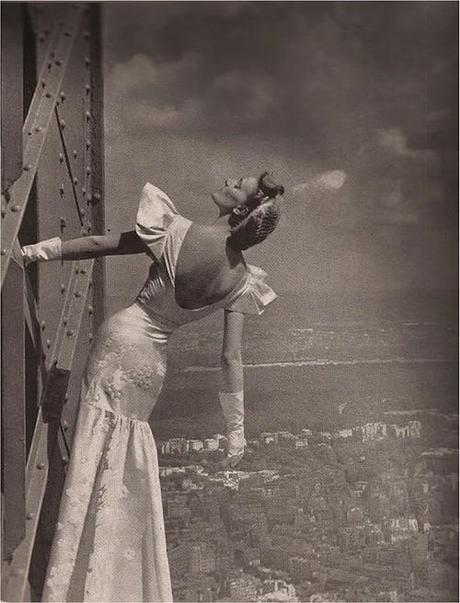 Model on the Eiffel Tower, Harper's Bazaar, 1939