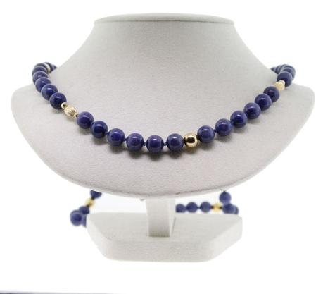 14K Yellow Gold Bead and Lapis Endless Strand
