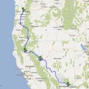 Our route from Portland to Redding to Reno To Las Vegas