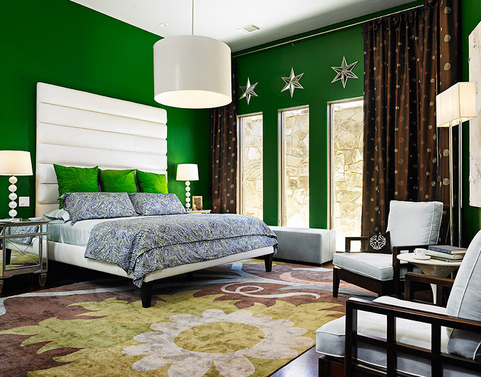 Emerald green bedroom by Laura Britt Design