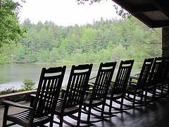Rocking chairs by lake