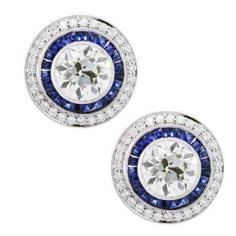 Platinum, Diamond and Sapphire Earrings, diamond earrings, sapphire earrings