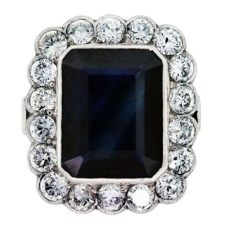 7 Carat Blue Sapphire, Diamond and Platinum Ring, royal baby, princess kate