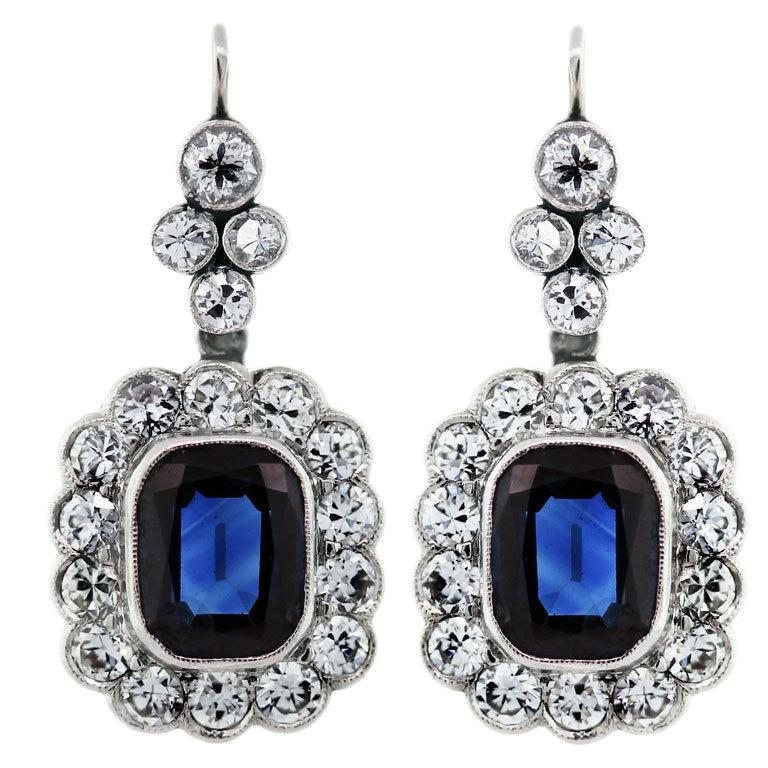 6 Carat Blue Sapphires, Diamonds, and Platinum Earrings