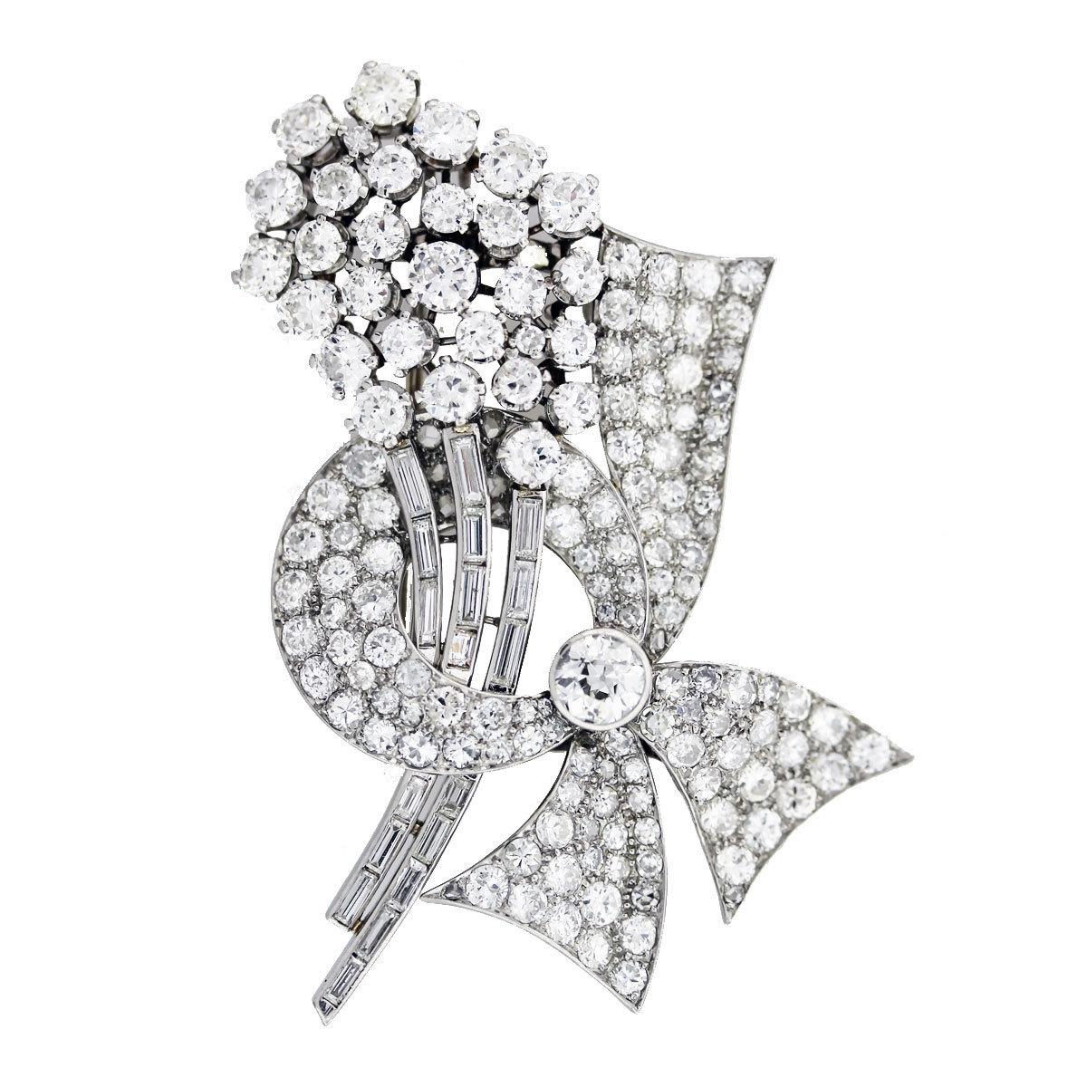 Vintage Platinum and White Diamond Raymond Yard Pin