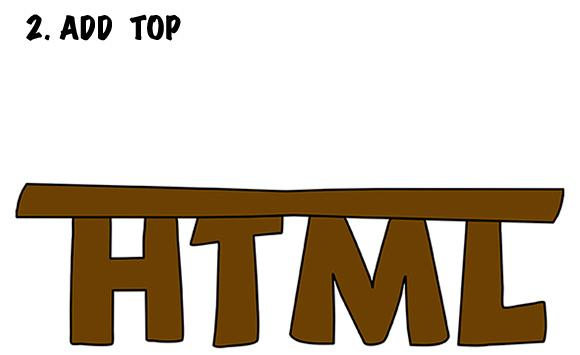 illustration showing the letters HTML as legs of a table with a slab on top of them for the table top for a joke about building an HTML table