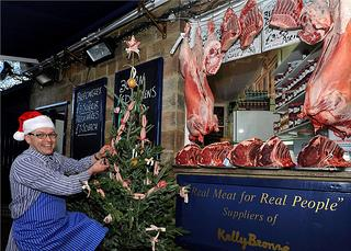 Butchers, Hutchinsons of Ripley, near Harrogate, has decorated a Christmas tree with meat trimmings..picture mike cowling nov 28 2012