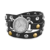 Black onyx, jasper, silver and leather strap watch