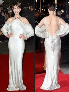 """Pretty or Pretty Ugly? Anne Hathaway's 'Les Mis"""" Premiere Marshmallow…I mean Dress"""