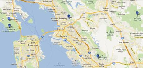 Map of trail hills to run from East Bay to Marin Headlands