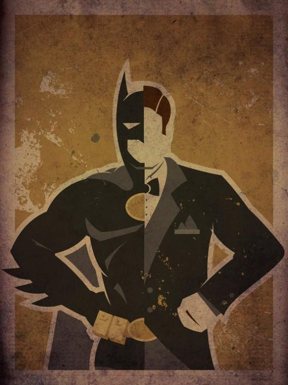 Batman Bruce Wayne e1354627510444 Superheroes & Their Secret Identities Art