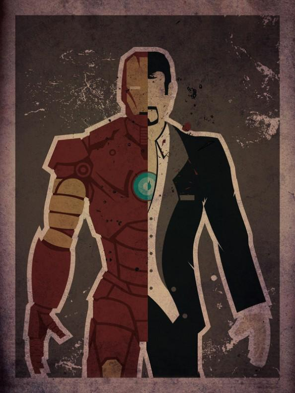 Iron Man Tony Stark e1354627466449 Superheroes & Their Secret Identities Art