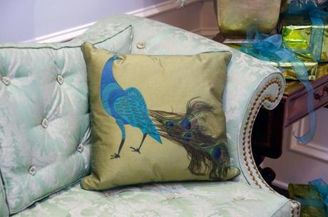 YES Spaces peacock pillow Create a Peacock Tree with Paper Feathers