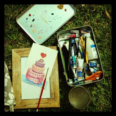 Painting while at my stall.