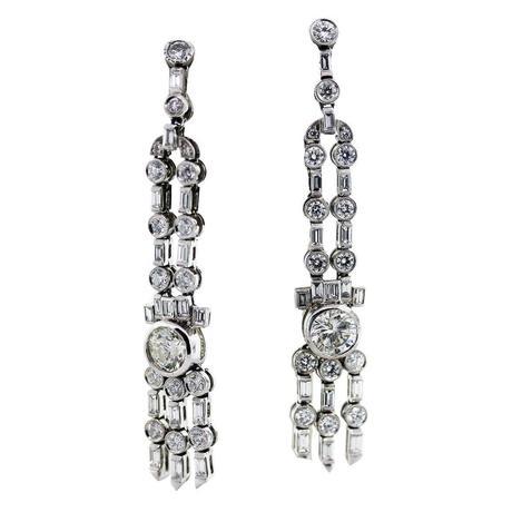 Vintage Style Platinum and 5 Carat Diamond Long Drop Earrings
