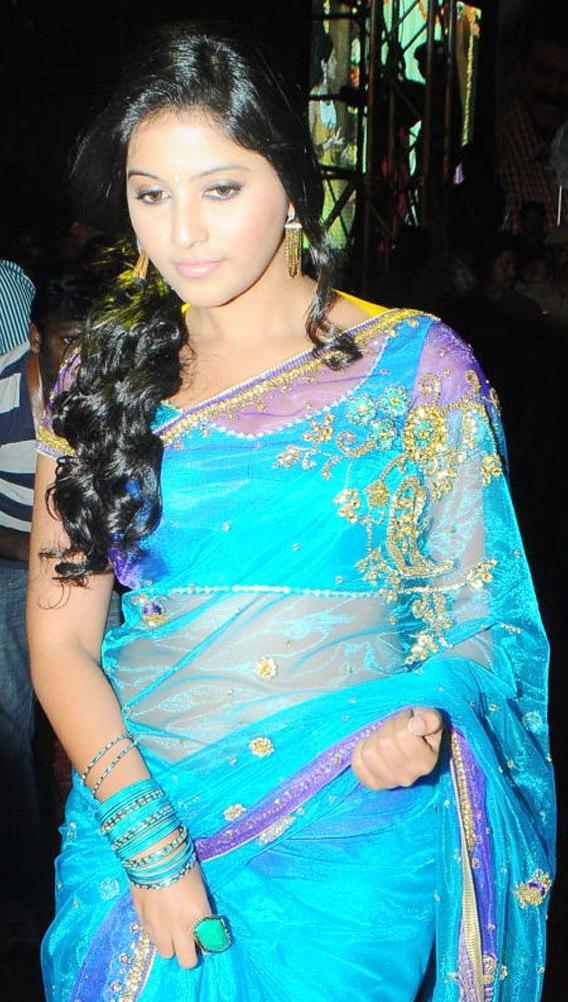 Anjali Beautiful Pics In Blue Saree At Svsc Audio Launch Full Gallery Paperblog