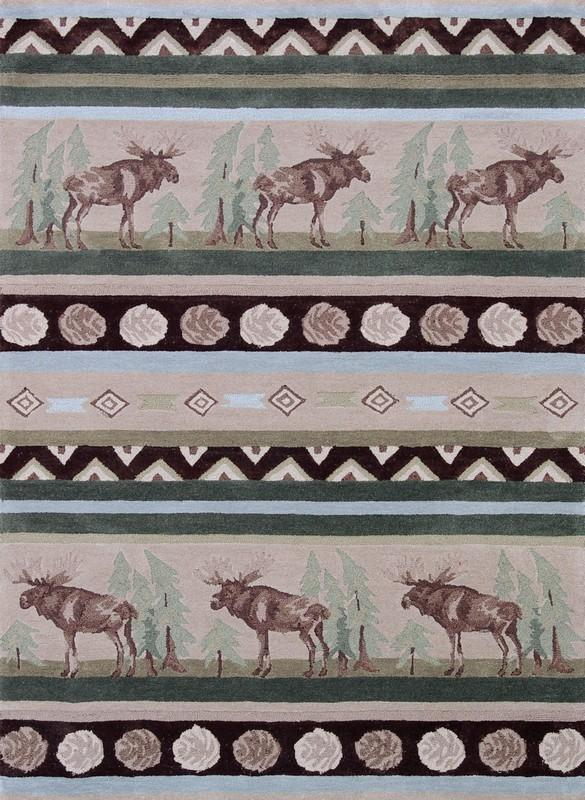 8' x 10' Hand Tufted Area Rug Moose Pattern in Beige and Green