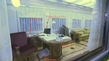 Some annotations of the items inside KJI's office and quarters in the railway car (Photo: KCTV/KCNA screengrab; annotations by Michael Madden)