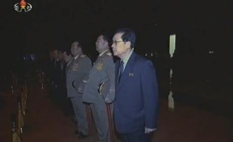 Jang Song Taek and senior commanders of the KPA pay their respects.  Also visible in this image are Hyon Yong Chol, Kim Kyok Sik and Kim Yong Chun (Photo: KCTV/KCNA screengrab)