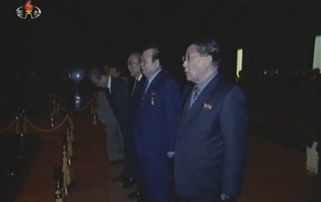 DPRK Vice Premier Kang Sok Ju and senior KWP and DPRK Government officials pay their respects.  Also visible in this image are Pak To Chun, Yang Hyong Sop and Choe Tae Bok (Photo: KCTV/KCNA screengrab)