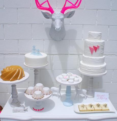 A Geometric Neon Pink, Gold  and a touch of ice blue Contemporary Christmas Table by The Couture Candy Buffet Company