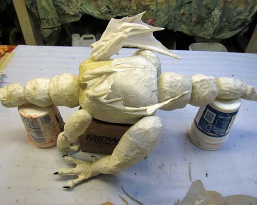 Not So Secret Paper Mache Project- more dragon marionette assembly