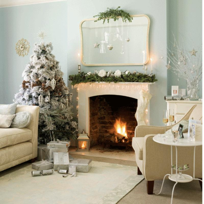 sky blue walls and white Christmas decorations