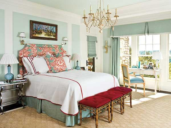 Color roundup using sky blue in interior design paperblog - Red and light blue bedroom ...