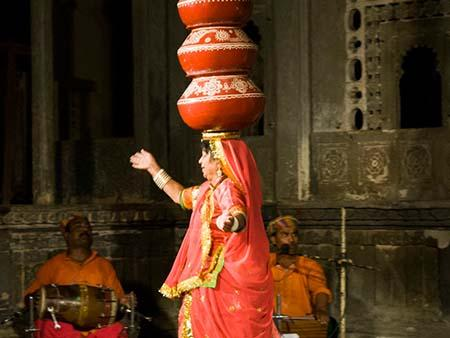 Bhavai Dance originated from the balancing skills of the women who carried pots of water on their heads