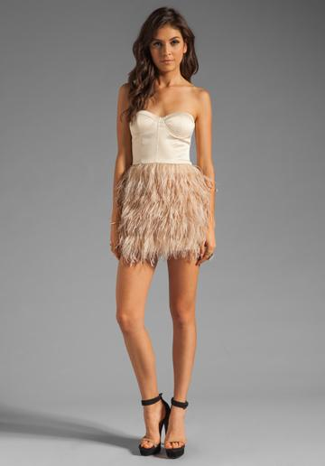 blaque label feather dress nude