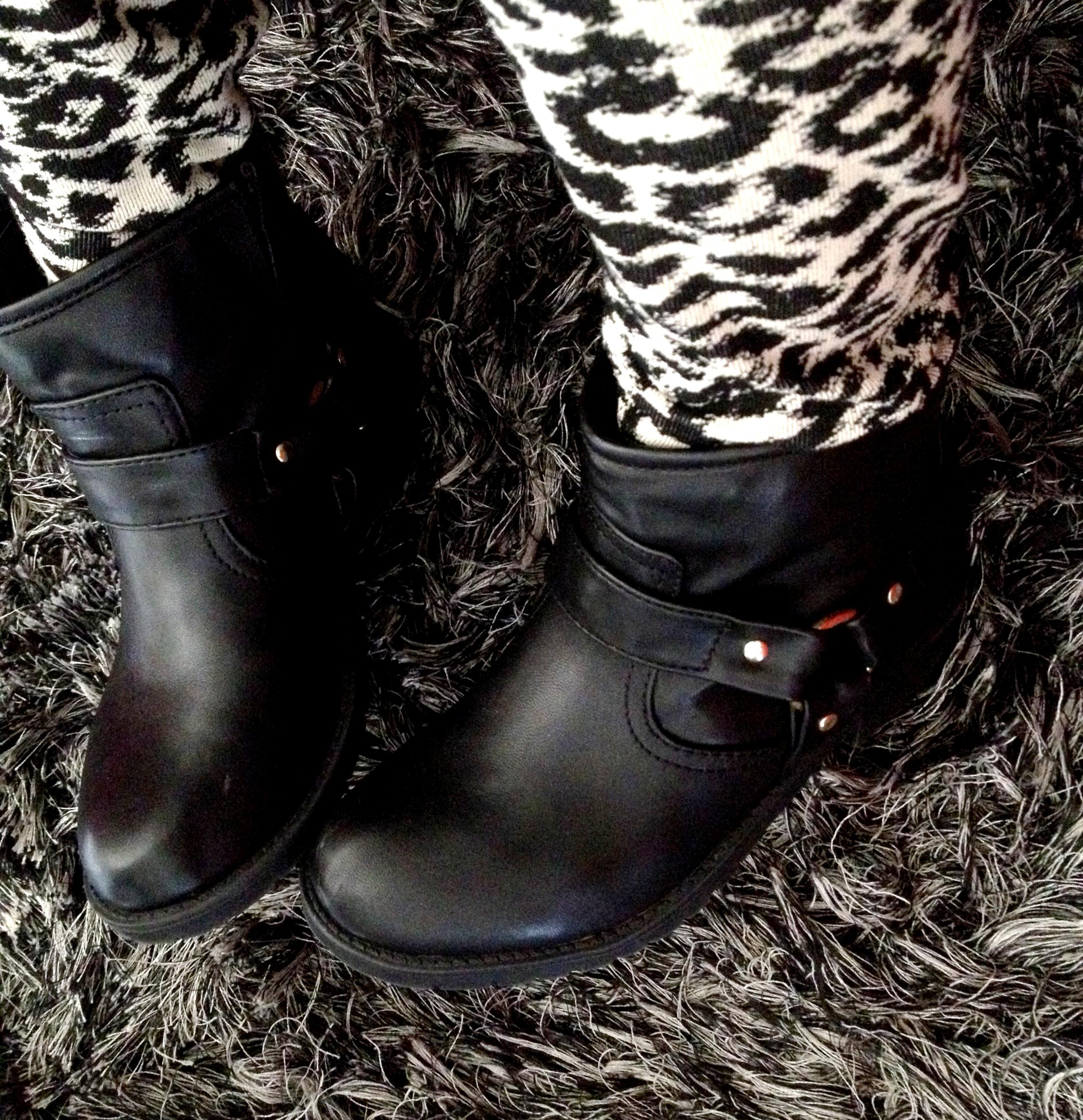 black ankle motorcycle boots