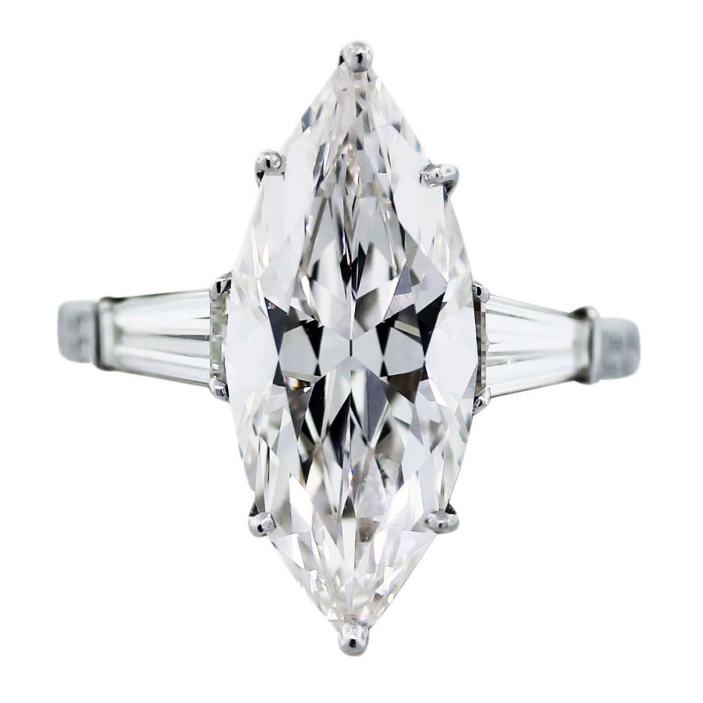 Marquise Diamond Engagement Ring With Baguettes Ringscladdagh