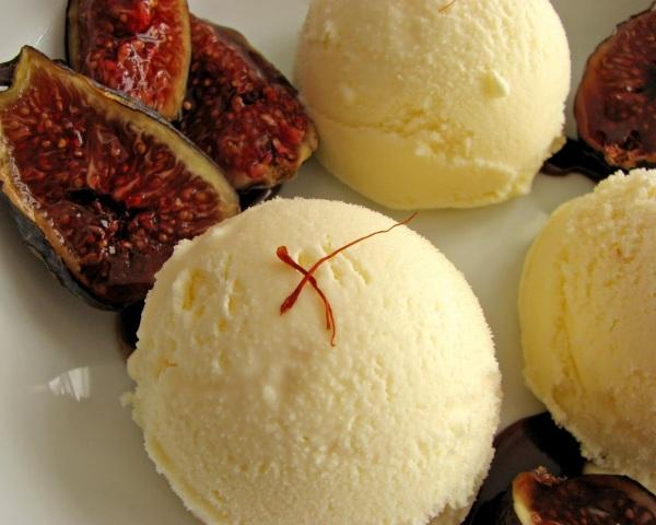 Saffron Ice Cream with Figs and Orange Gastrique