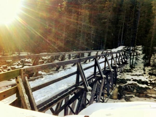 Bridge across Cascade River to Stewart Canyon in Banff National Park, Canada