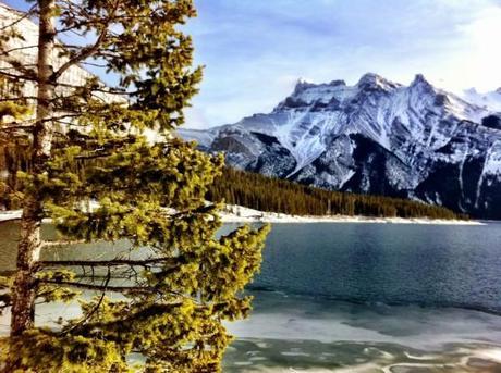 Cascade Mountain and Lake Minnewanka seen en route to Stewart Canyon in Banff National Park, Canada