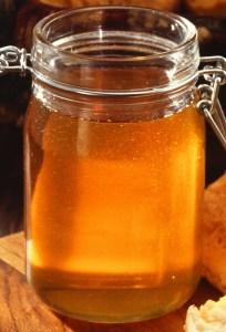 A jar of honey before being emptied