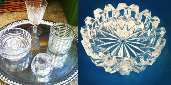 left: an early centerpiece mock-up, right: I fell in love with vintage ashtrays