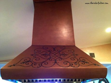 faux copper finish with verigris design on a commercial range hood
