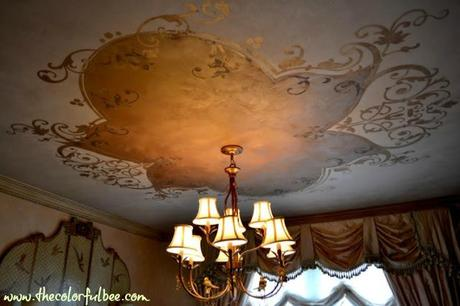decorative ceiling design done with metallic plaster and a Modello