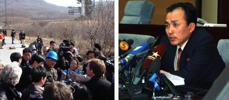 Jang Myong Jin (L; blue hard hat) and Ryu Kum Chol (R) participate in media availabilities prior to the April 2012 launch of the U'nha-3 (Photos: KCNA)