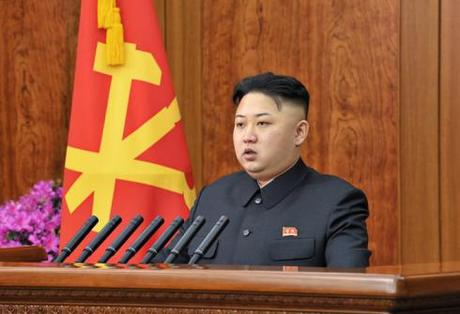 Kim Jong Un delivers a New Year's Day speech at the Korean Workers' Party Central Committee #1 Office Building in central Pyongyang on 1 January 2013 (Photo: Rodong Sinmun)