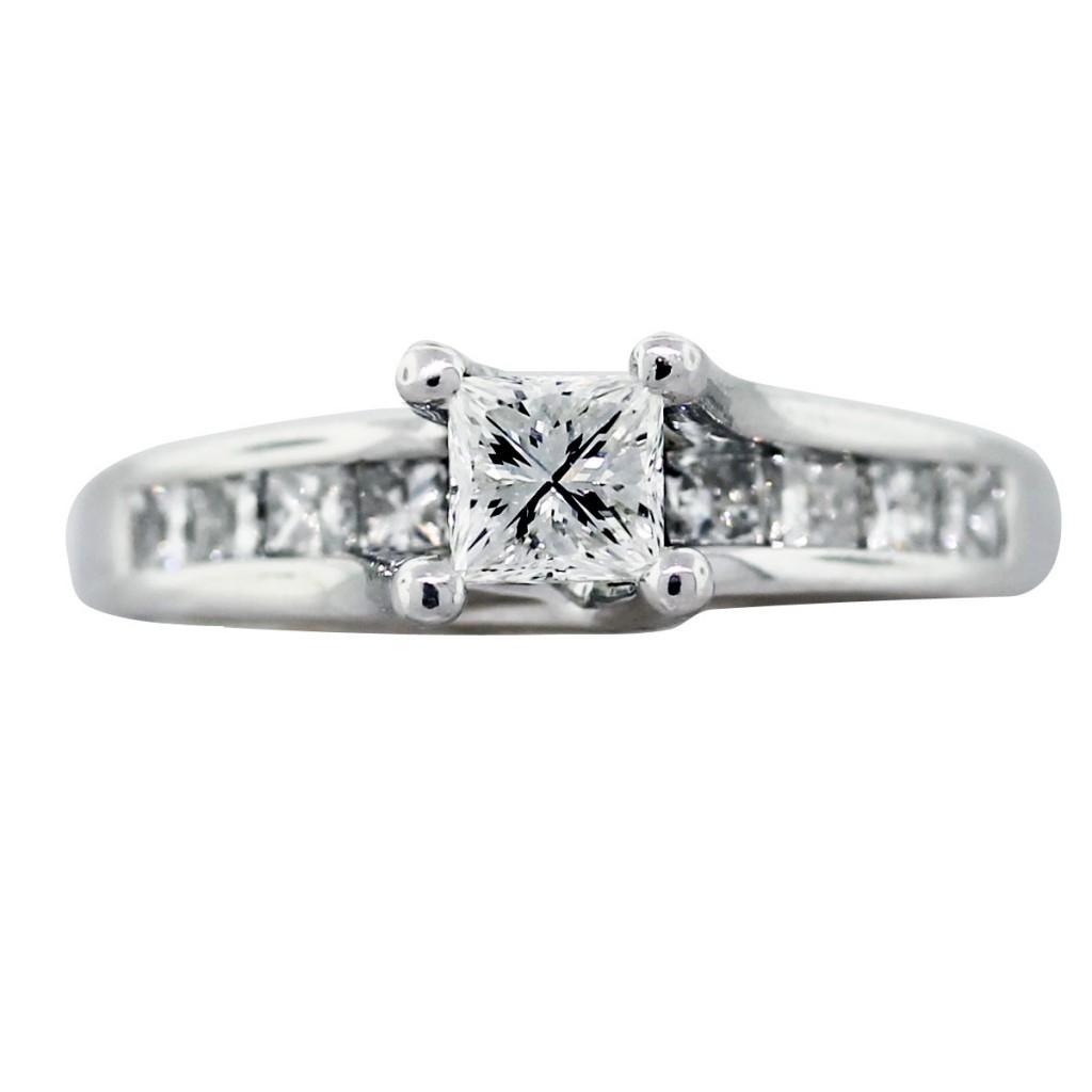 050 Carat Princess Cut Diamond Engagement Ring 14k White Gold