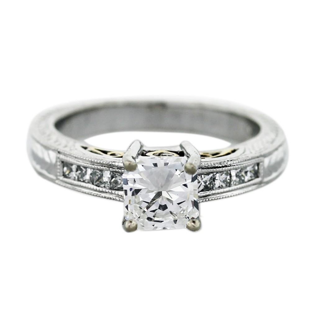 Name Ring Square Engagement Ring Square Diamond Engagement Ring